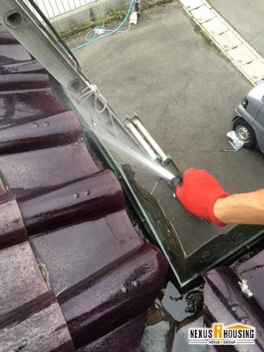 【高圧洗浄機 使用】雨どい清掃 事例