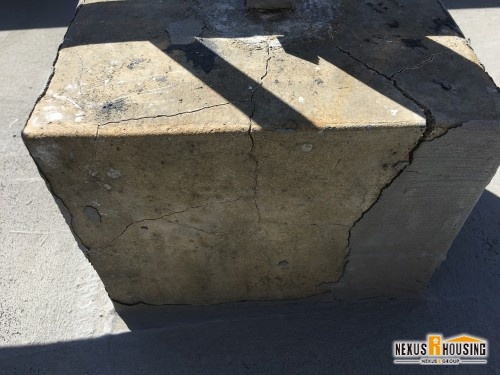 高圧洗浄機で洗浄した後のブロック。