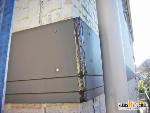 補修された外壁