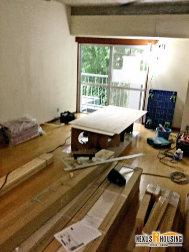 建材搬入、作業場設置