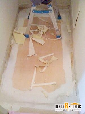 床下地設置、パテ処理