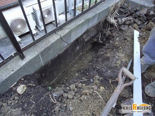 塀周りの土を掘る