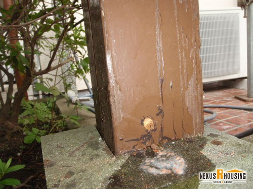 木栓が打たれた柱
